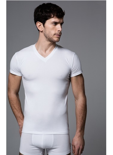 U.S. Polo Assn. V Yaka T-Shirt Beyaz